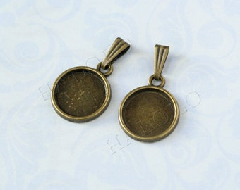 10 pcs antique bronze round bezel base - for 12mm round cabochons. BN377D