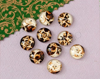 10pcs handmade assorted brown and cream white round glass dome cabochons 12mm (12-0839)