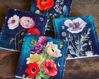 Turquoise Floral coaster set