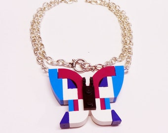 Magenta Art Deco Butterfly Necklace
