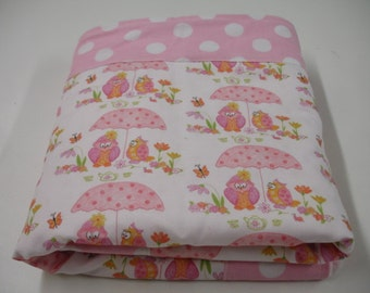 Hoos Having Tea with Pink Dots Minky Baby Blanket  You Choos Size MADE TO ORDER No Batting