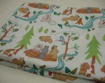 Lazy Beavers in White Minky Blanket MADE TO ORDER
