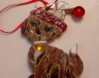 Mosaic Puppy Dog Ornament