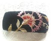 Black/pink barrette, floral barrette, fabric barrette, hair accessory, fashion accessory
