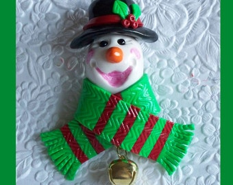 Christmas snowman Magnet Black Hat