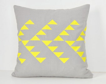 Grey inen pillow cover with geometric tribal pattern design