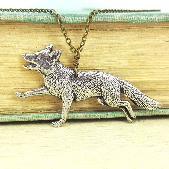 Fox Necklace. Antiqued Pewter and Antiqued Bronze Chain Necklace Pendant.