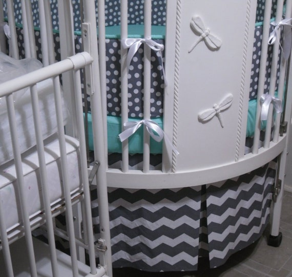 Custom . Round Crib Bedding Set... sheet/ sheets, bumper, pleated ...