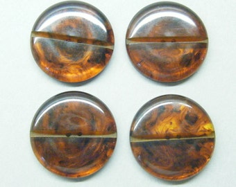 Vintage buttons, bakelite buttons, tortoise shell, set of 4 buttons