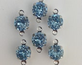 Vintage Light Sapphire Faceted Glass Stone 2 Loop Silver Setting Drops 7mm (6) rnd003JJ2
