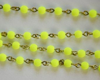 Neon Yellow Czech Glass Bead Chain Raw Brass Links 4mm chn151