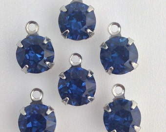 Vintage Montana Blue Faceted Glass Stone 1 Loop Silver Setting Drops 7mm (6) rnd003FF