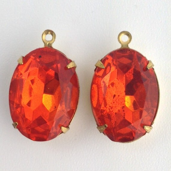 vintage faceted hyacinth orange glass in 1 by