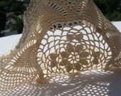 Vintage Hand Crochet Doily - White - Ivory - Round with Scalloped Edge - C. 1950s