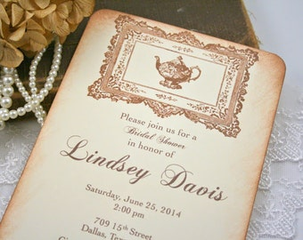 Tea Party Invitations Bridal Shower Engagement Tea Party and Frame Set of 10