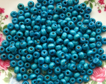 Turquoise Blue Wooden Beads 5mm - Over 200 - 4x5mm Glossy Blue Wood Beads (WBD0028)