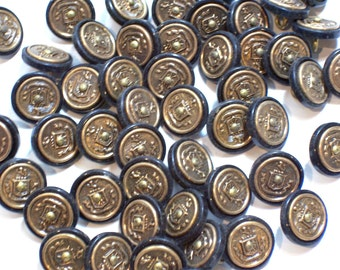 Coat of Arms Buttons, Black Plastic and Coppertone Metal Buttons 5/8 inch diameter x 25 pieces, Coat of Arms Design, Shank Back