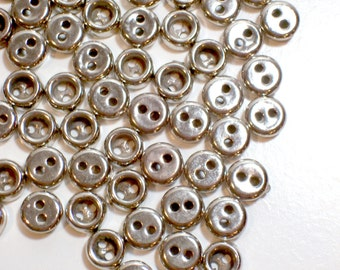 Silver Buttons, Silvertone Metal Coated Plastic Core Buttons 5/16 inch diameter x 50 pieces, 2 Hole Silver Buttons