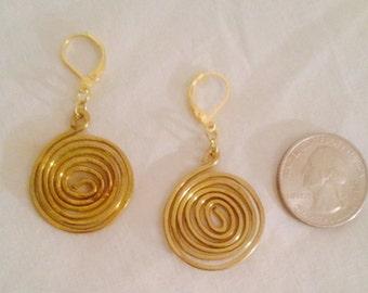 Brass Wire Spiral Earrings