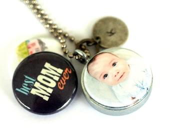 MOM Necklace, Keepsake Jewelry, Personalized Necklace for Mom, Keepsake Locket, Unique Keepsake Gift, Mom Gift, Child Photos, Child Artwork