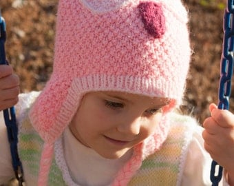 Pink Owl Hat for 2-4 Year Olds