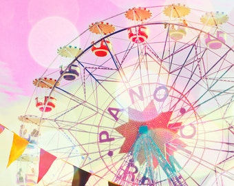 Carnival photography, nursery art, girl's room decor, Barcelona, ferris wheel, wall art, baby girl, circus photograph, pastel, carnival art