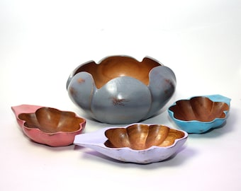 Rustic Decor Painted Wood Bowl Set of 4 Gray Purple Turquoise Blue Pink