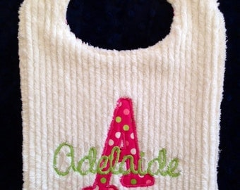 Toddler size Monogram Initial name Bib