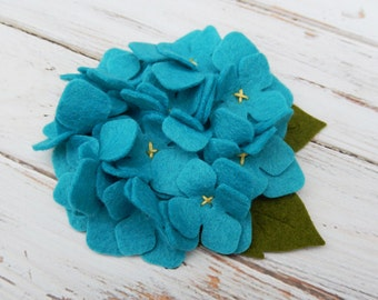 Wool Felt Fabric Flower - Hydrangea - Peacock - Set of 2