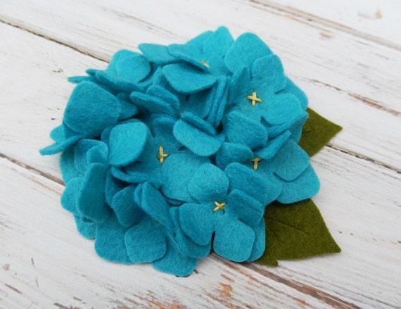Wool Felt Fabric Flower Hydrangea Peacock by AMarketCollection