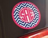 Monogram car magnet, preppy chevron monogrammed car accessory, 4 inch round personalized car magnet