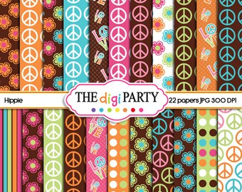 hippie digital papers printables scrapbook pack groovy peace hippie chick printable