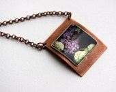 lilac flower necklace metal jewelry photo jewelry antique copper pendant for her art wearable art