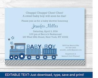 Cute Choo Choo Train Baby Shower Invitation / Train Baby Shower Invite / Baby Blue / Baby Boy / INSTANT DOWNLOAD Editable PDF
