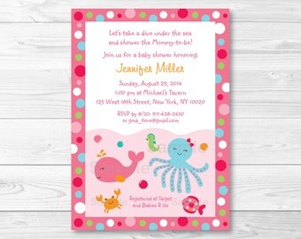 Pink Under the Sea Baby Shower Invitation / Under The Sea Baby Shower Invite / Nautical Baby Shower /  Baby Girl / PRINTABLE A192