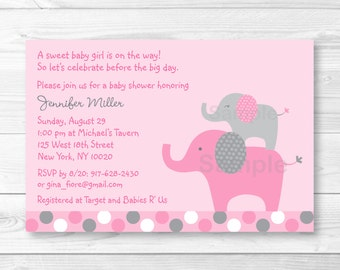 Cute Pink Elephant Baby Shower Invitation / Elephant Baby Shower Invite/ Pink & Grey Elephant / Polka Dot Pattern / Baby Girl / PRINTABLE