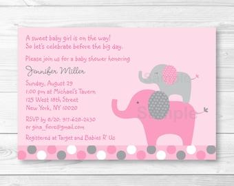 Pink Elephant Baby Shower Invitation / Elephant Baby Shower Invite/ Pink & Grey Elephant / Polka Dot Pattern / PRINTABLE A334