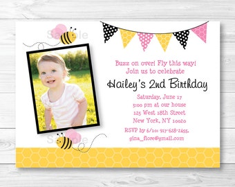 Pink Bumble Bee Birthday Invitation PRINTABLE