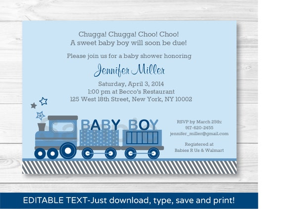 image regarding Printable Baby Shower Invitations Boy referred to as Data concerning Choo Choo Prepare Kid Boy Printable Youngster Shower Invitation Editable PDF