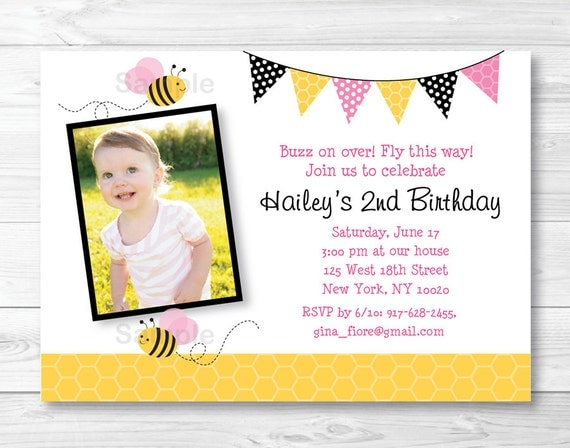 Pink bumble bee birthday invitation bumble bee birthday invite il570xn filmwisefo