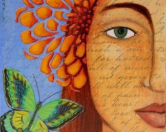Motherhood Art Sacred Fertility Goddess Print of Acrylic