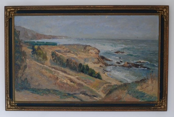 1935 Early Laguna Beach Plein Air California Oil Painting on Board Heisler Point