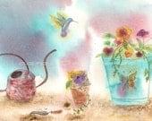 Watercolor Painting Hummingbird Art, Hummingbird Painting, Hummingbird Watercolor, Garden Art Print Titled Hummingbird Garden