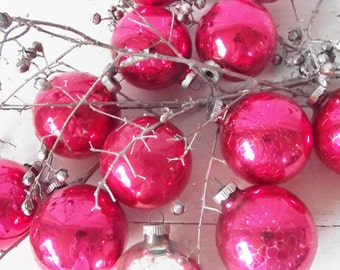 Vintage Christmas Ornaments -Shiny Brite- Made in USA- Raspberry Red - Silver - One Dozen - Christmas in July