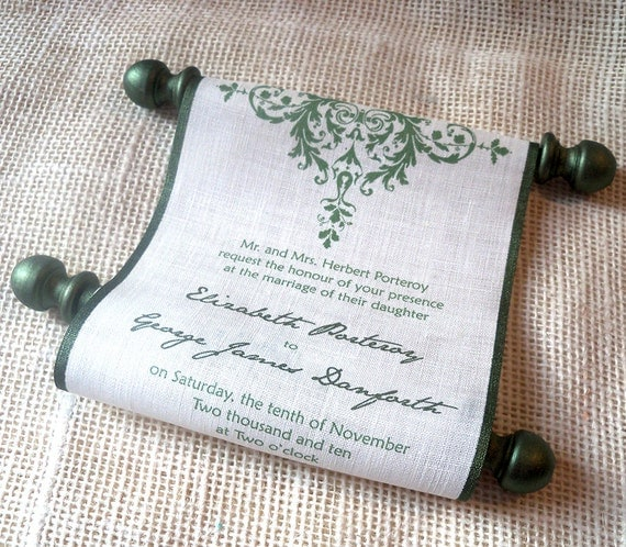Rustic wedding invitation scroll on linen fabric, olive green and cream, acorn invitation, with presentation box, set of 25