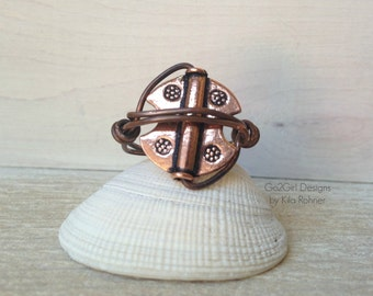 Custom Handmade Jewelry Round Copper Statement Ring Earthy Rustic Artisan Wire Wrapped Ring Handcrafted Bohemian Jewelry Unisex Metalwork