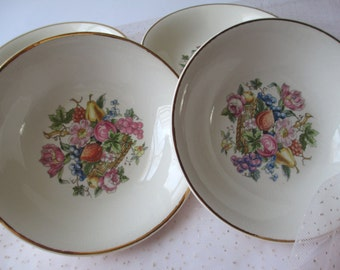 Vintage Bakerite Floral Fruit Berry Bowls Set of Four - Cottage Chic