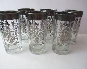 Vintage Kimiko Guardian Silver Trimmed Highball Glasses Set of Six - Retro