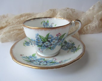 Teacup and Saucer Royal Standard Forget Me Not English Bone China - Vintage Charm