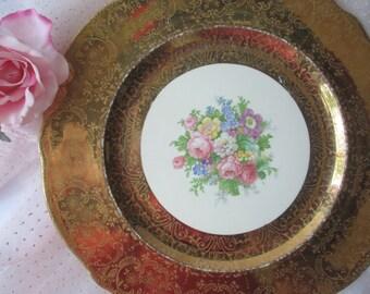 Vintage 22 Karat Gold Pink Floral Plate - Elegant